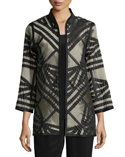 Jacquard Jacket with Graphic Silk Trim, Petite