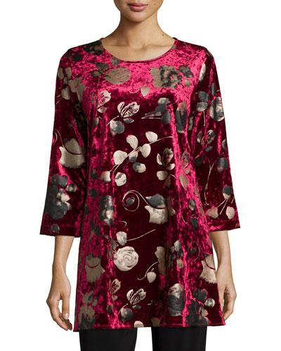3/4-Sleeve Panne Velvet Tunic W/ Shimmer, Plus Size