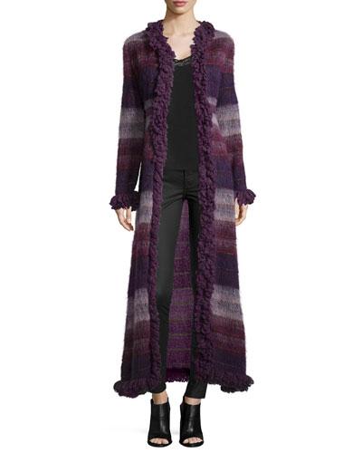 Brushed Wool Long Gauze Coat, Deep Purple