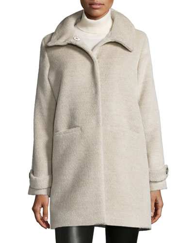 Long-Sleeve Alpaca-Blend Snap-Front Coat