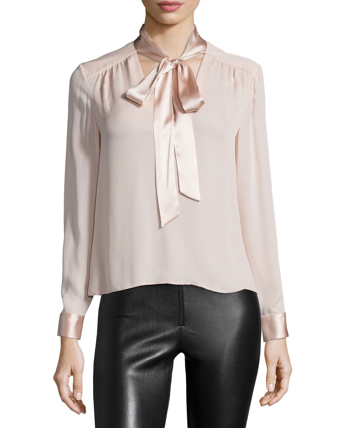 Irma Satin-Trim Chiffon Blouse, Dusty Pink