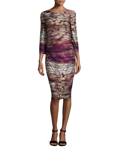 3/4-Sleeve Printed Jersey Dress