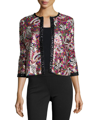 Paisley Sequined Cardigan, Petite