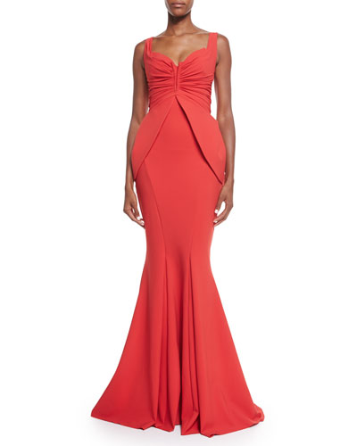 Dixie Sleeveless V-Neck Peplum Mermaid Gown