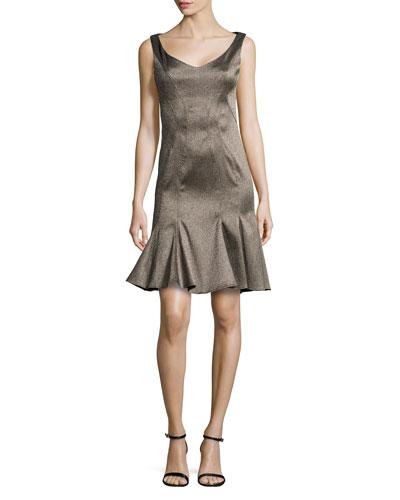 Sleeveless Jacquard Flounce Dress
