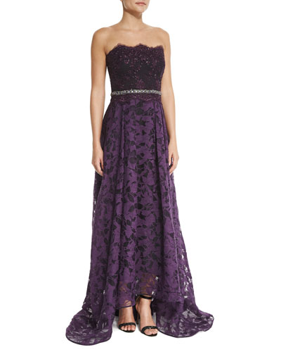 Strapless Beaded-Waist Lace High-Low Gown