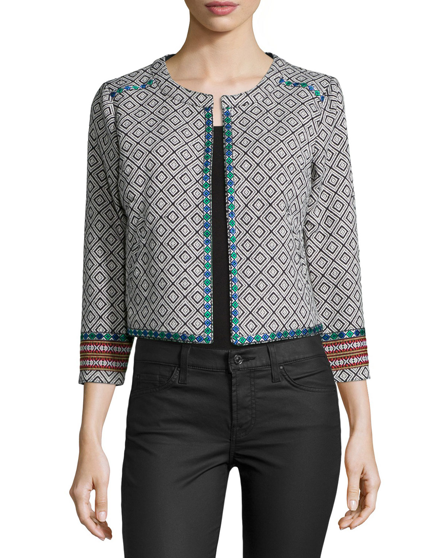 Mantra Geometric-Print Jacket, Black