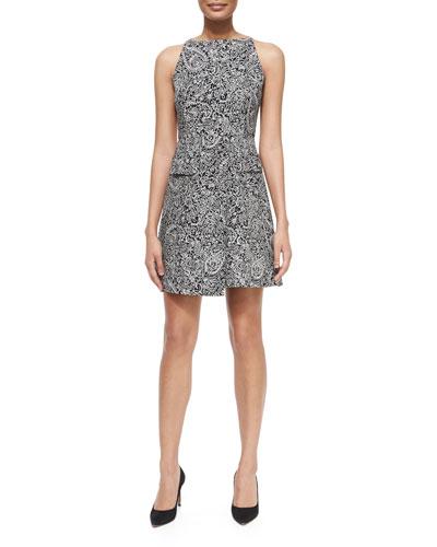 Paisley Doodle Sheath Dress, Black/White