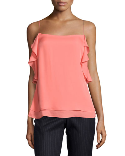 Sleeveless Ruffled Silk Cami, Pink