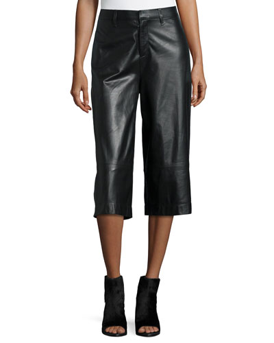 High-Waist Wide-Leg Leather Gaucho Pants, Black