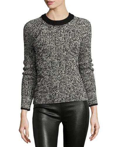 Karen Crewneck Sweater, Black/White