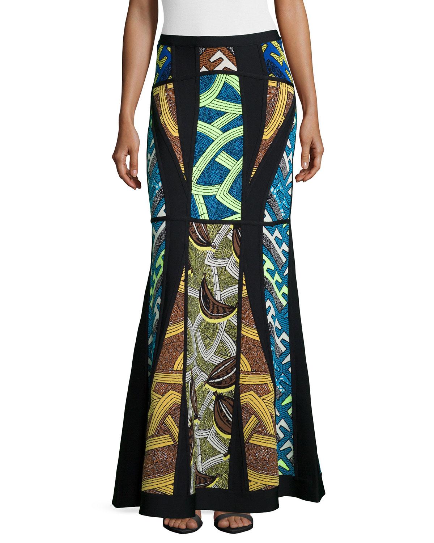 Paneled Geometric-Print Maxi Skirt