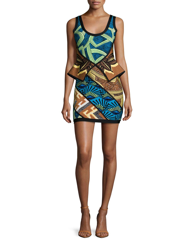 Geometric-Print Peplum Bandage Dress