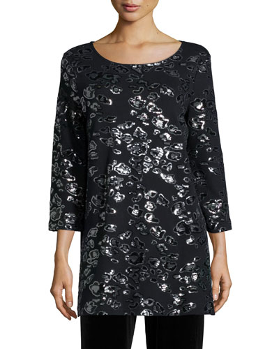 Animal Sequined Tunic, Black