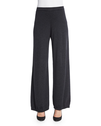 Silk-Cashmere Wide-Leg Pants, Charcoal, Plus Size