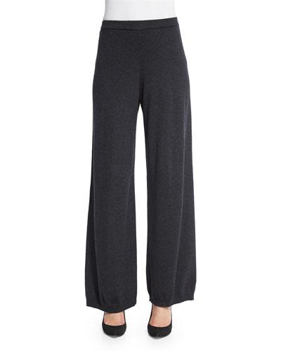 Silk-Cashmere Wide-Leg Pants, Charcoal, Plus Size