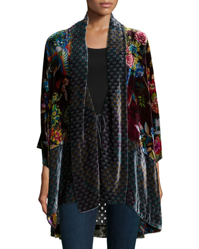 Dream Multi-Print Velvet Kimono Jacket, Plus Size