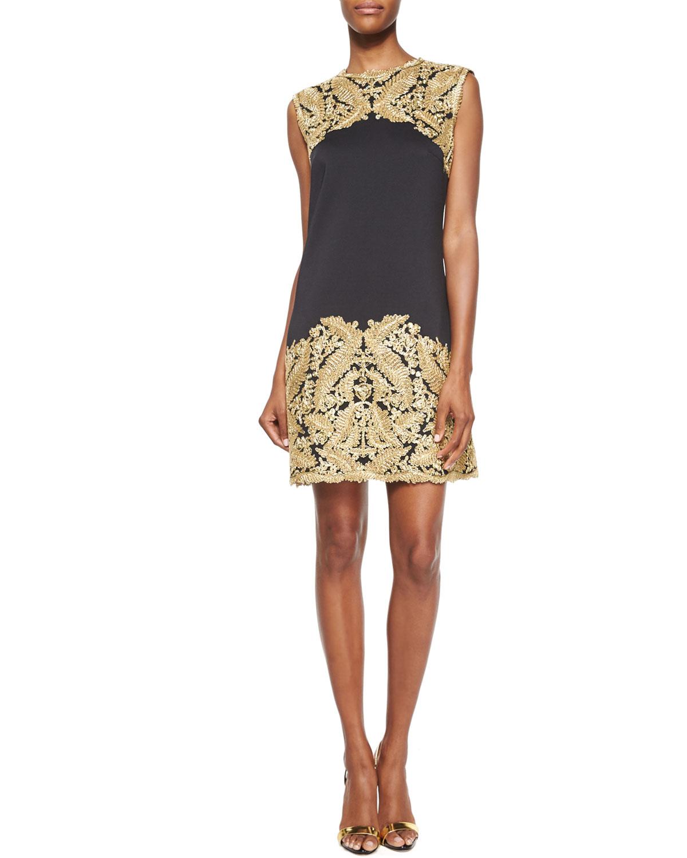 Sleeveless Lace Embellished Cocktail Dress, Gold/Black