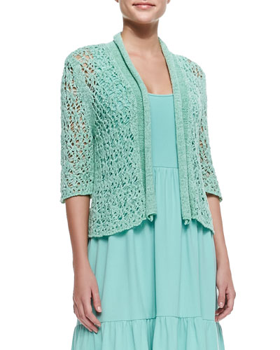 Cropped Tape-Yarn Cardigan, Spearmint