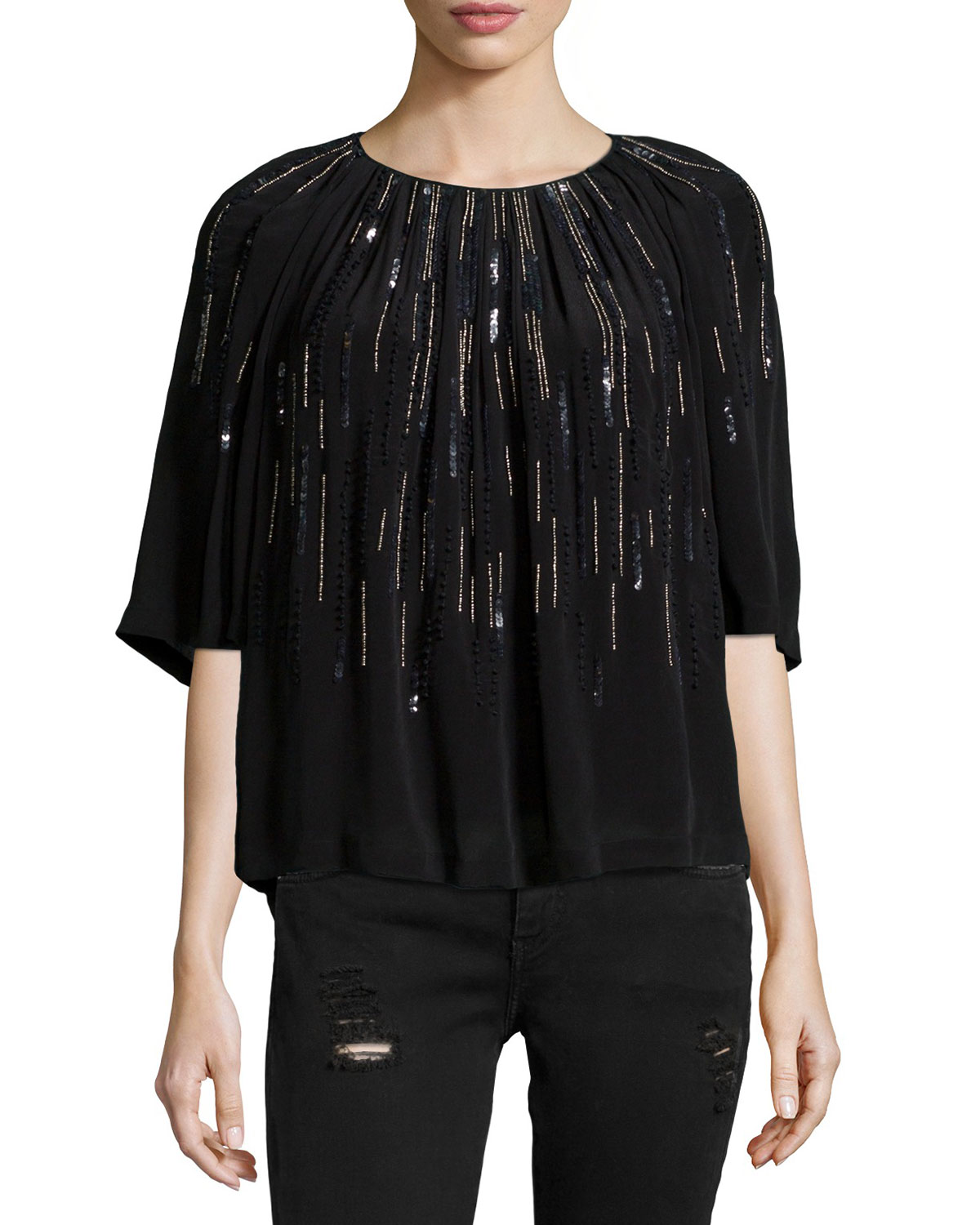 Barley Sequin-Embellished Top, Black