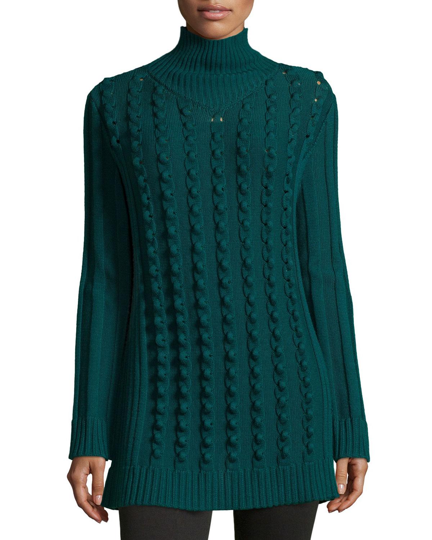 Chain-Stitch Oversized Sweater, Fern Green