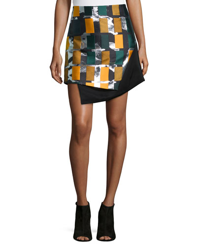 Color Story Jacquard Skirt, Black Multi