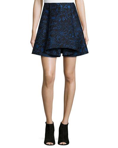 Scribbles Jacquard Skirt, Blue Multi