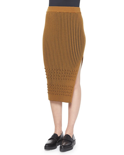 Mixed-Knit Side-Slit Pencil Skirt