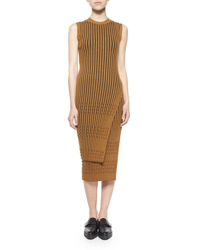 Long-Sleeve Ribbed Faux-Wrap Tunic