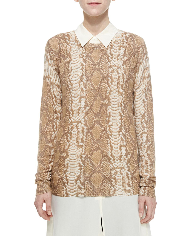 Cashmere-Blend Sloane Snake-Print Sweater, Khaki