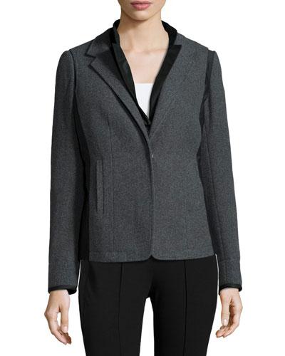 Long-Sleeve Reversible Jacket, Eclipse Melange