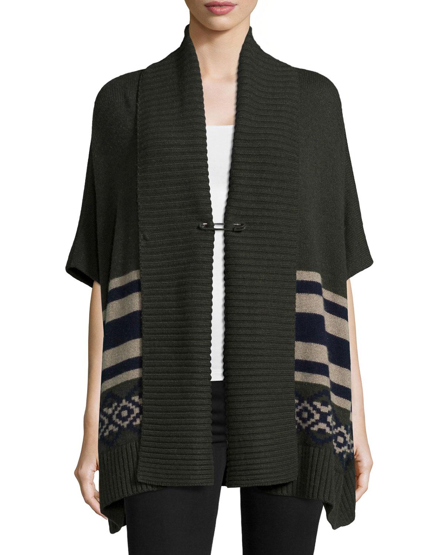 Half-Sleeve Cashmere-Blend Tribal-Print Shawl