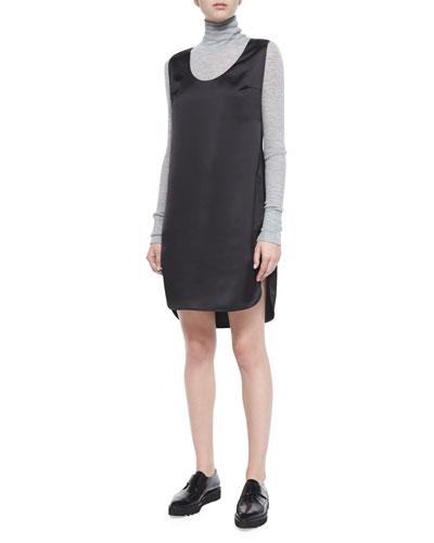 Satin Sleeveless Tank Dress, Black