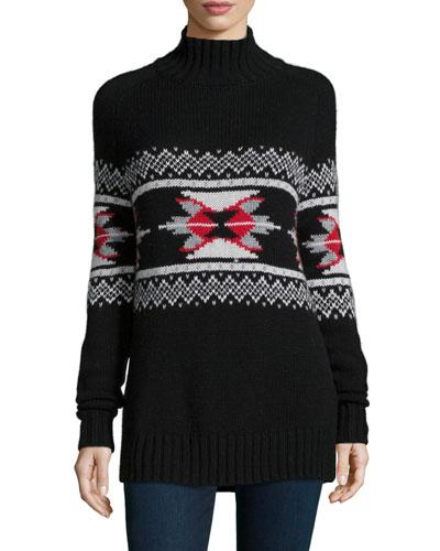 Fair Isle Mock-Neck Cashmere-Blend Sweater