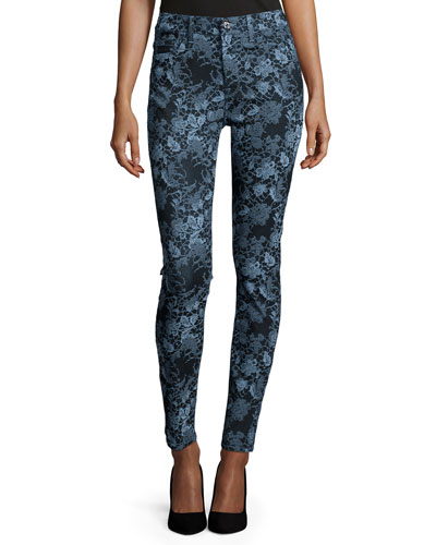 The High-Waist Skinny Jeans, Blue Floral