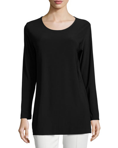 Easy Long-Sleeve Jersey Tunic, Plus Size