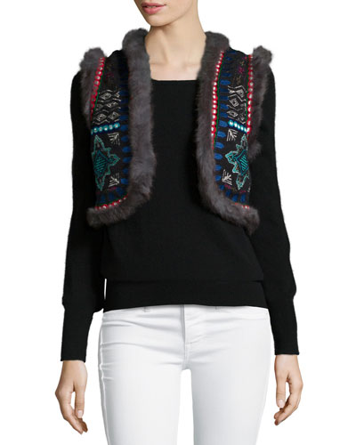 Chamber Embroidered Fur-Trim Vest, Black