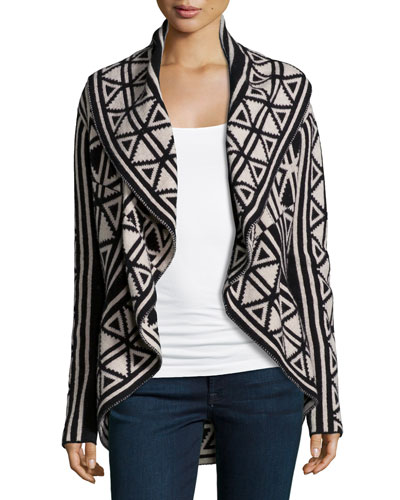 Darling Geometric-Print Cardigan, Black/White