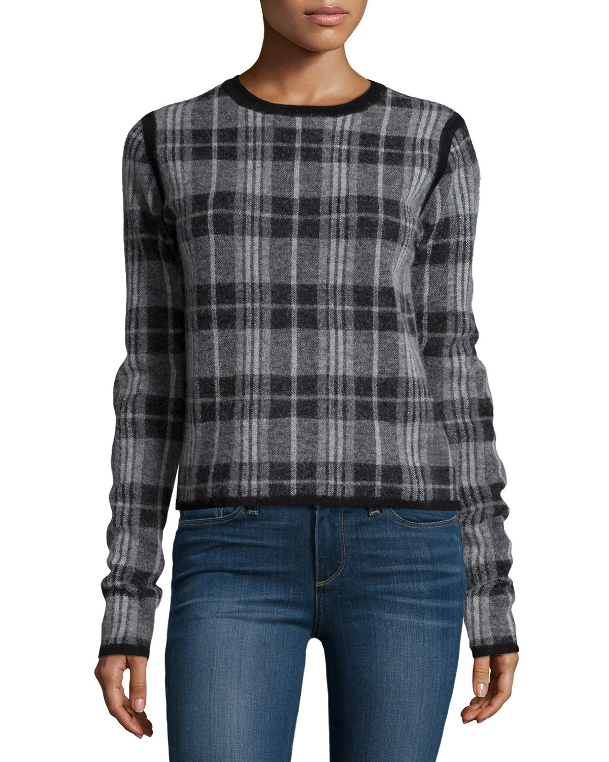 Autry Long-Sleeve Plaid Sweater, Black/Medium Heather