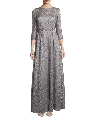 3/4-Sleeve Lace A-line Gown