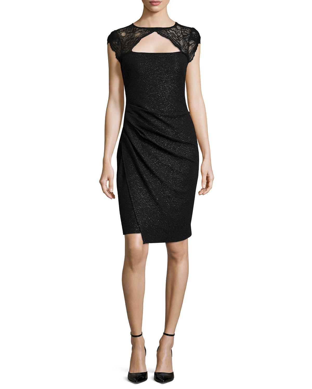 Cap-Sleeve Faux-Wrap Dress