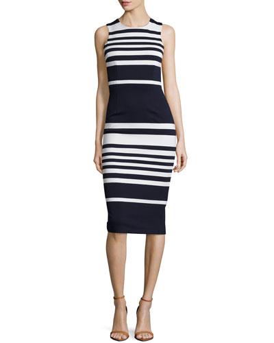 Positano Stripe Cross-Back Sheath Dress, White/Black