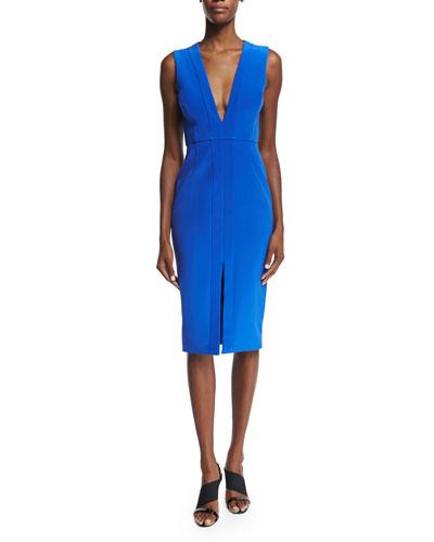 Sleeveless V-Neck Sheath Dress, Royal