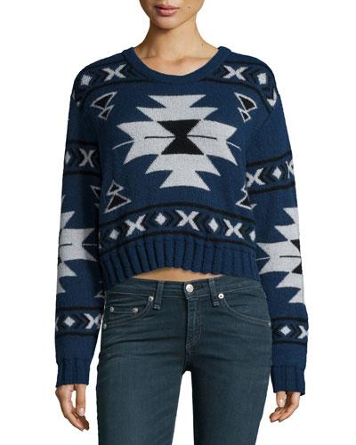 Neiman Marcus Long Sleeve Tribal Print Crop Sweater Indigo | Clothing