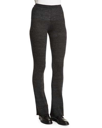 Step Boot-Cut Knit Pants, Gris