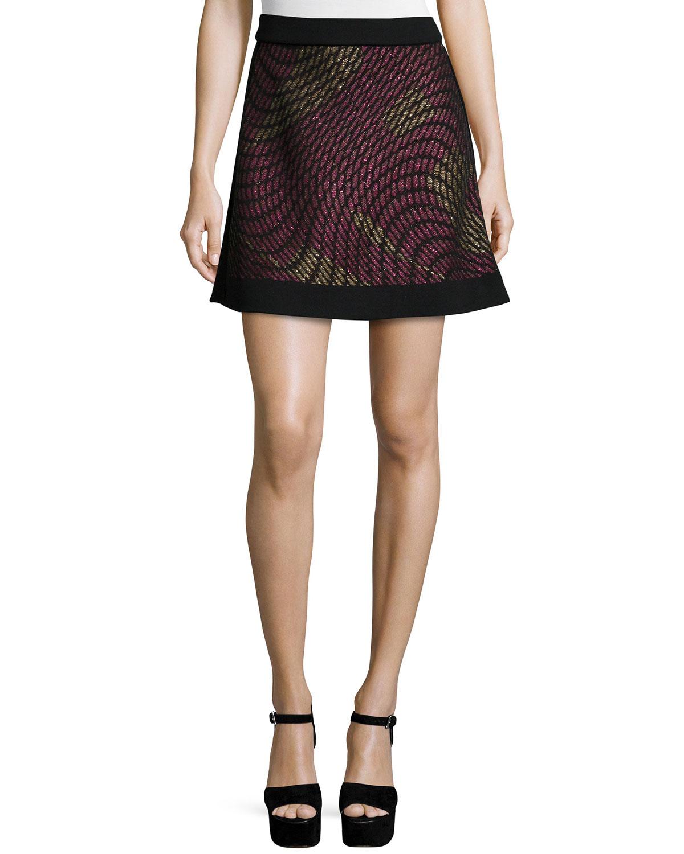 Metallic Web Flared Skirt
