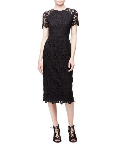Short-Sleeve Lace Midi Sheath Dress