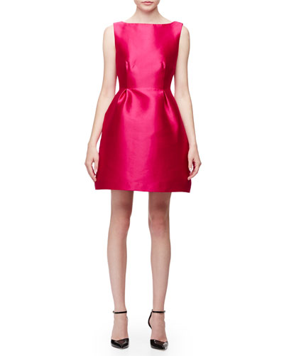 sleeveless open-back fit-&-flare dress, sweetheart pink