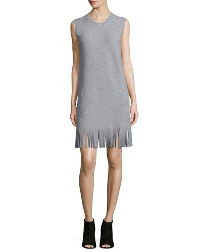 Rosetty Sleeveless Fringe Dress, Heather Gray