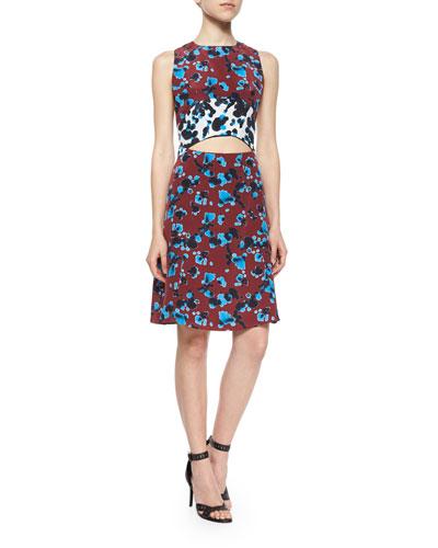 Mallory Ink-Spot-Print Cutout Dress